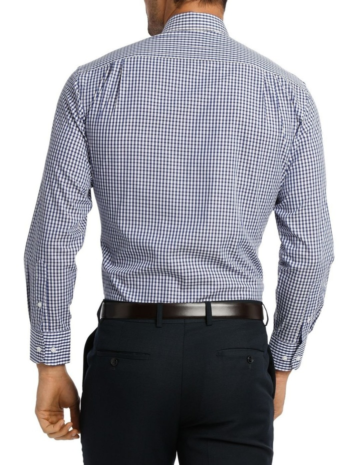 White & Navy Check Business Shirt image 3