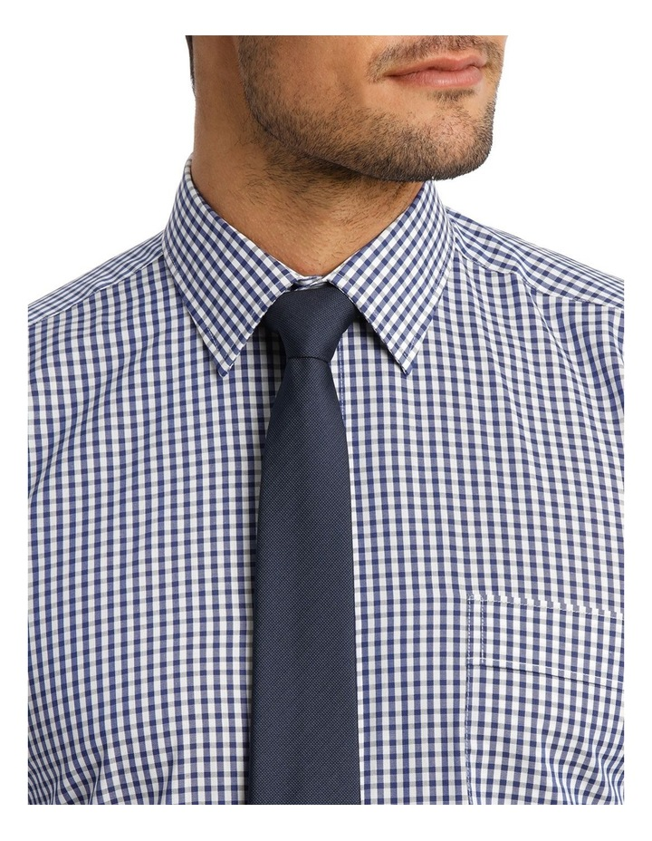 White & Navy Check Business Shirt image 4