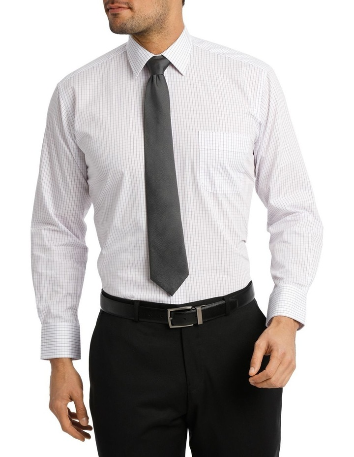 White Ground Fine Mauve Check Business Shirt image 1