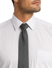 Van Heusen - White Ground Fine Mauve Check Business Shirt