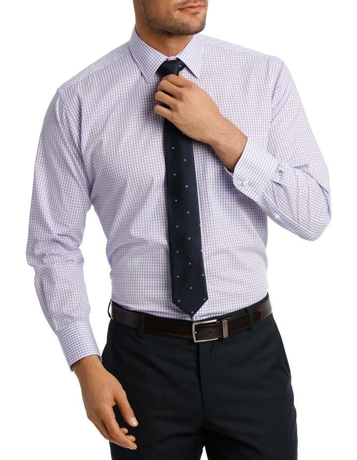 White & Mauve Check Business Shirt image 1