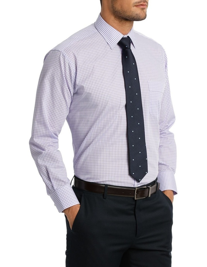 White & Mauve Check Business Shirt image 2