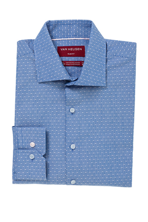 Van Heusen Slim Fit - Blue With White Spot Business Shirt