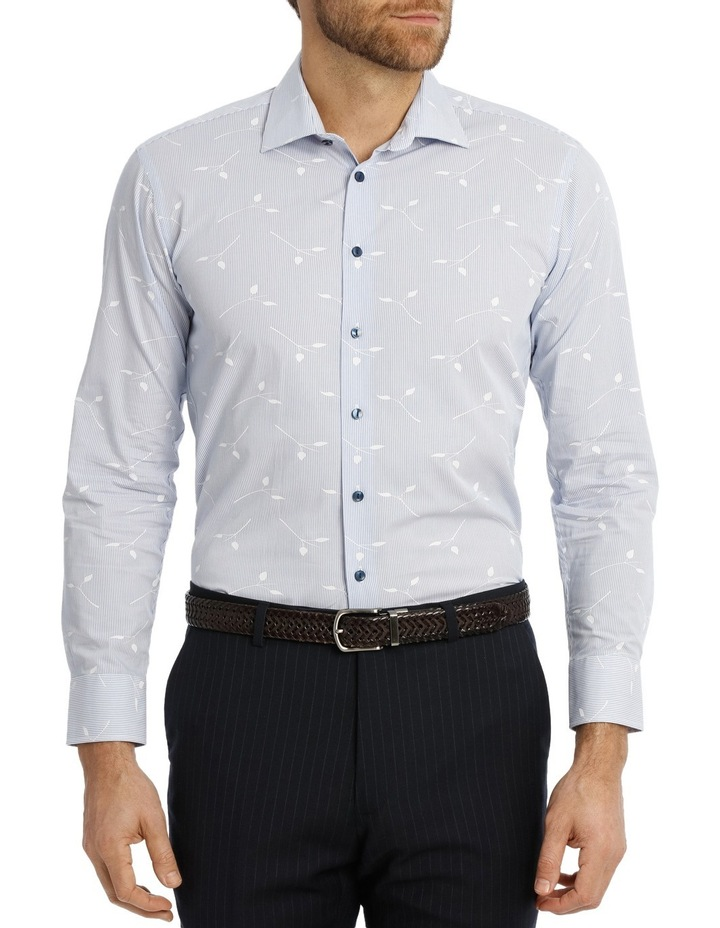 Blue Yard Dyed Stripe Overleaf Dobby Business Shirt image 1