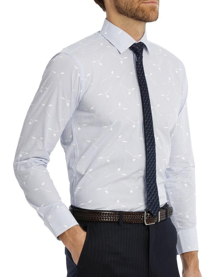 Blue Yard Dyed Stripe Overleaf Dobby Business Shirt image 2