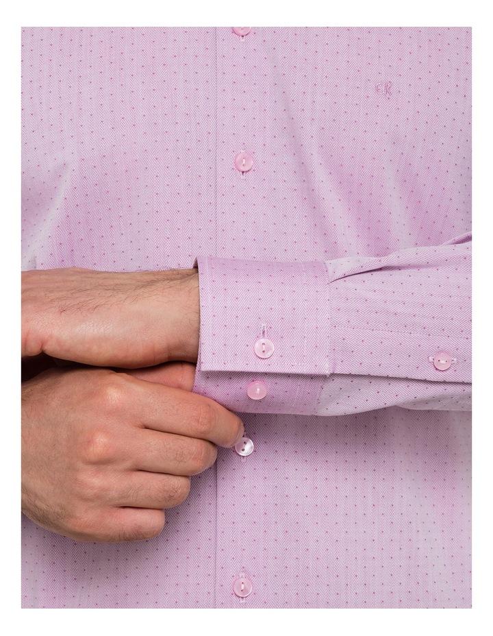 Oxblood Herringbone Jacquard Business Shirt image 3