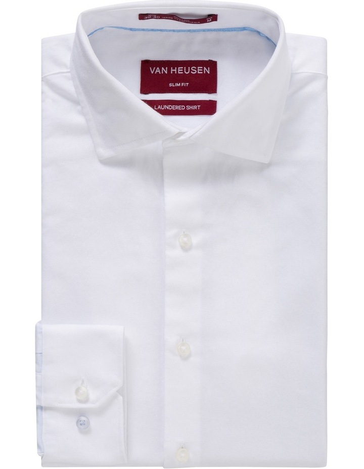 Slim Washed White Solid Business Shirt image 1