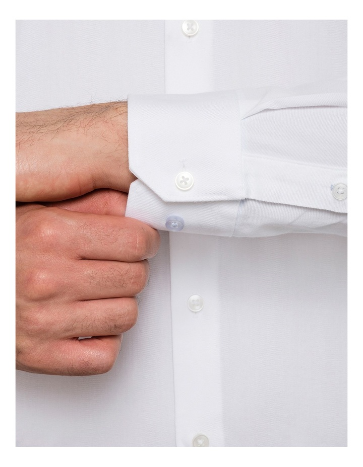 Slim Washed White Solid Business Shirt image 3