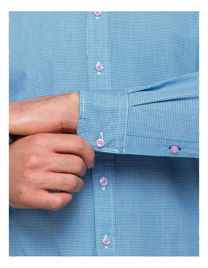 Washed Blue Minicheck Business Shirt image 4