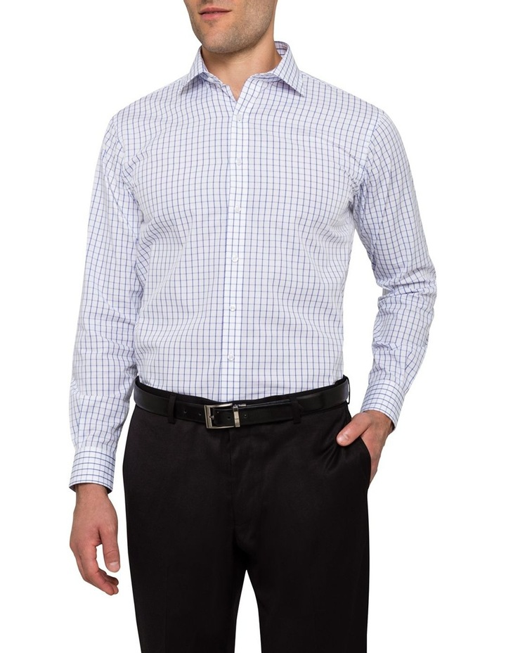 White Ground Blue Windowpane Check Business Shirt VLEMX35Z_CCSB image 1