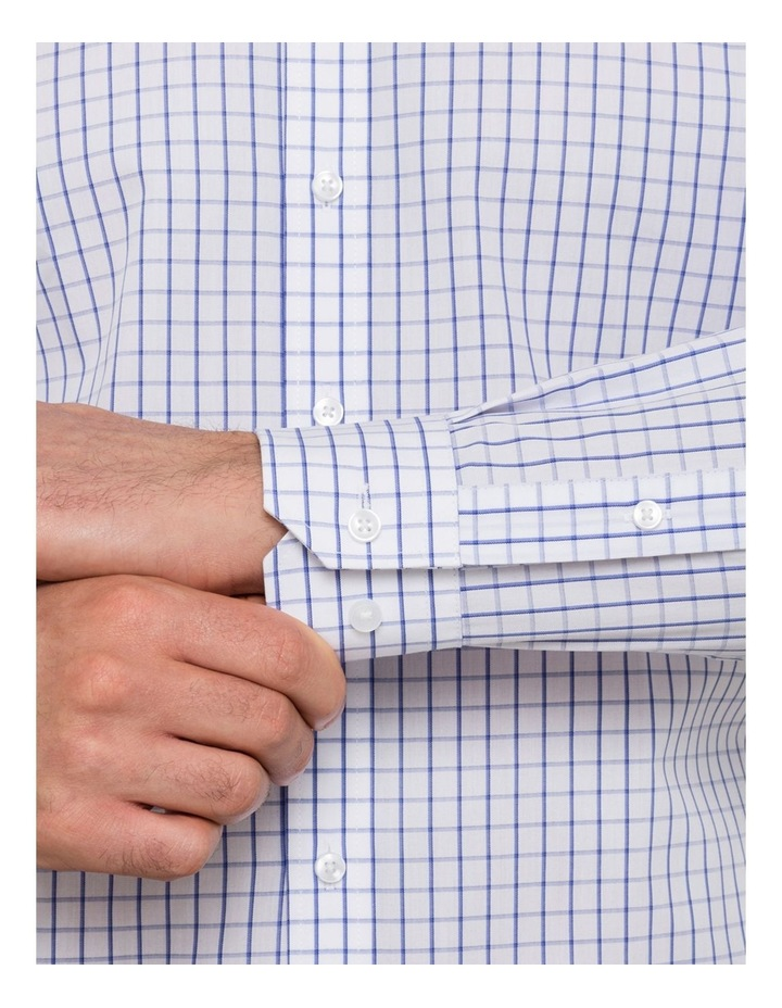 White Ground Blue Windowpane Check Business Shirt VLEMX35Z_CCSB image 3