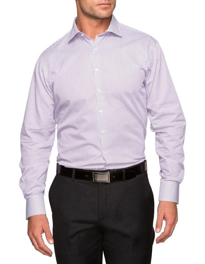 WHITE TWILL GROUND STRIPE BUSINESS SHIRT image 1