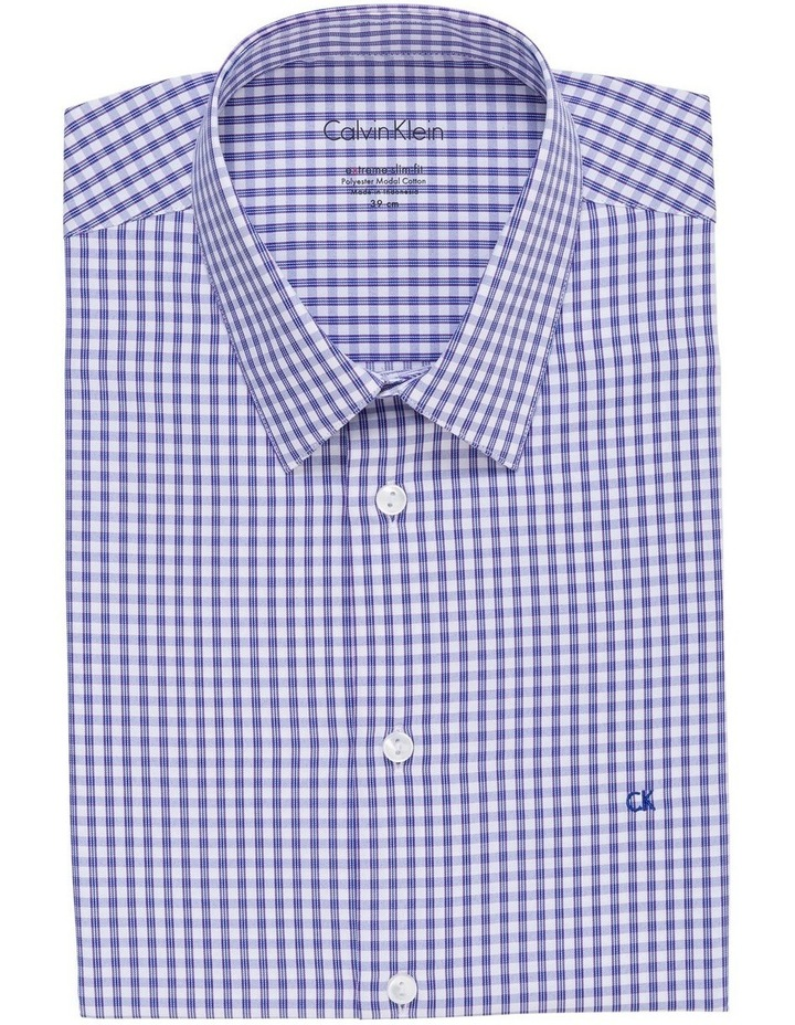 WHITE TWILL GROUND OVERCHECK BUSINESS SHIRT image 1