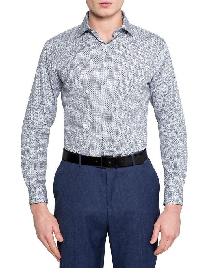 WHITE GROUND GEOMETRIC PRINT BUSINESS SHIRT image 2