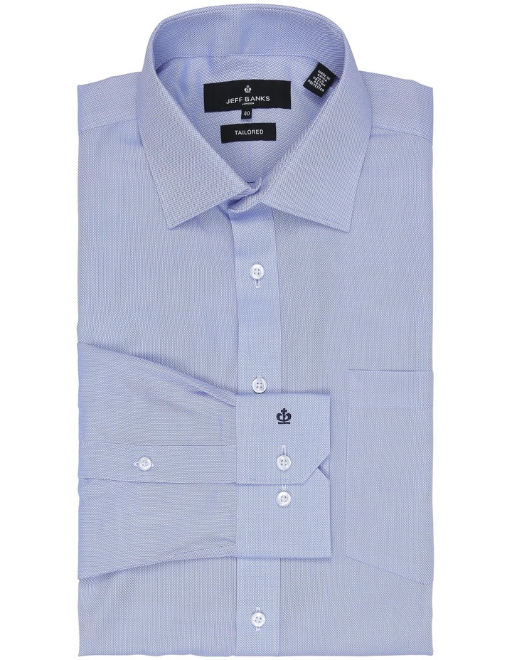 Myles Sky Blue Textured Tailored Fit Business Shirt image 1