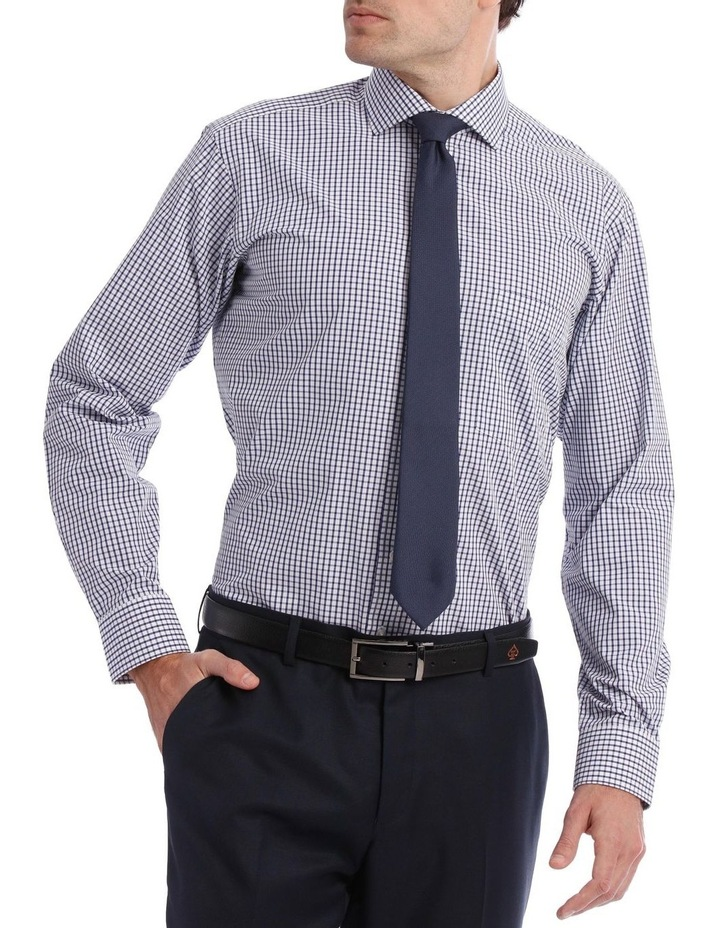 Tailored Check Business Shirt Navy image 1