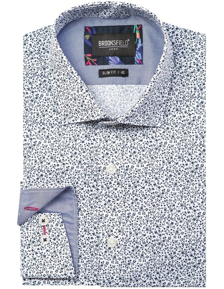Luxe Vine Leaf Print Slub Business Shirt image 4