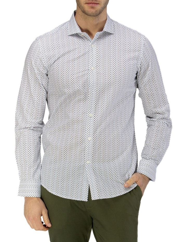 Luxe Leaf Print Slub Business Shirt image 1