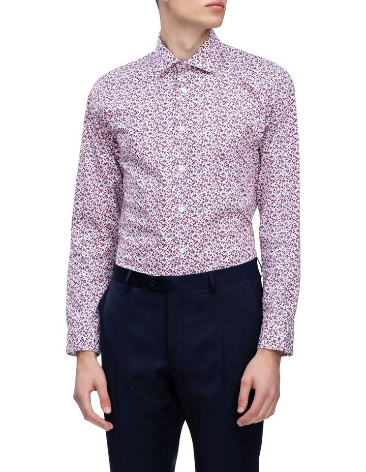 White Ground Red & Blue Floral Print Business Shirt image 2