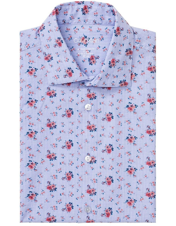 Blue with Orange Floral Print Business Shirt image 1
