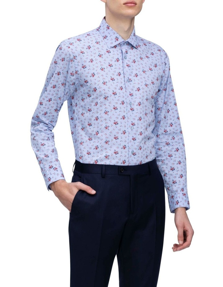 Blue With Orange Floral Print Business Shirt image 2