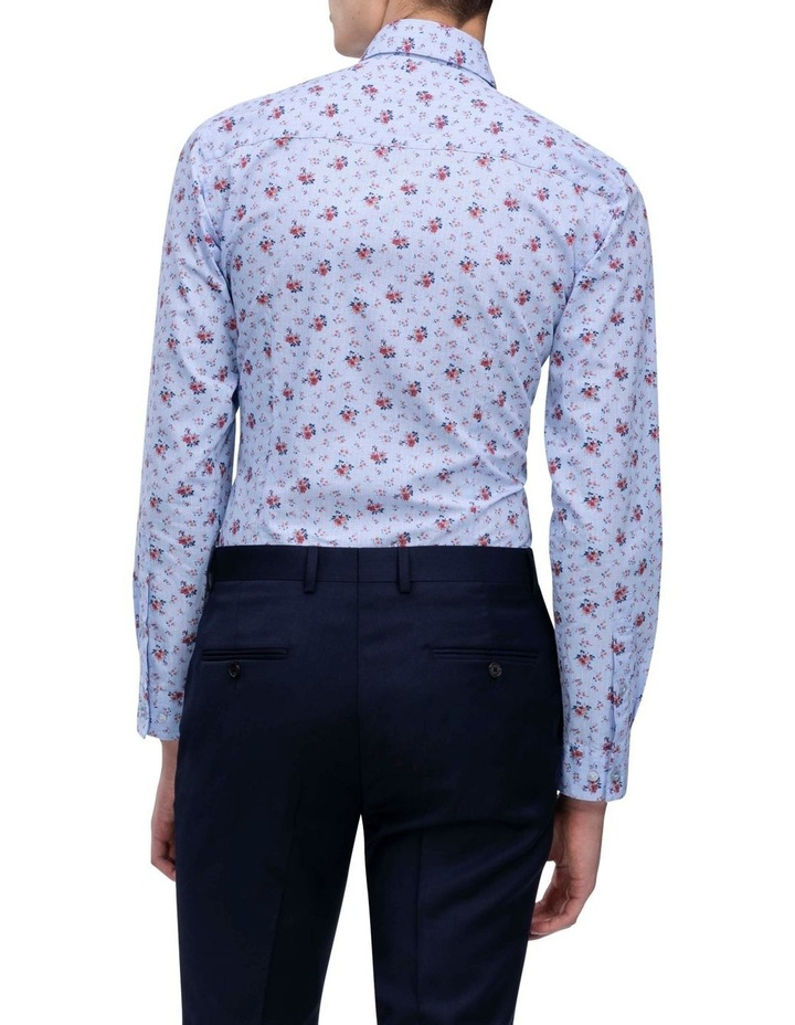 Blue With Orange Floral Print Business Shirt image 4