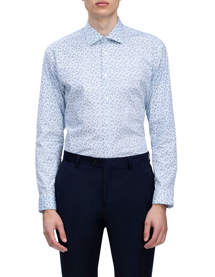 White Ground Blue Floral Business Shirt image 1