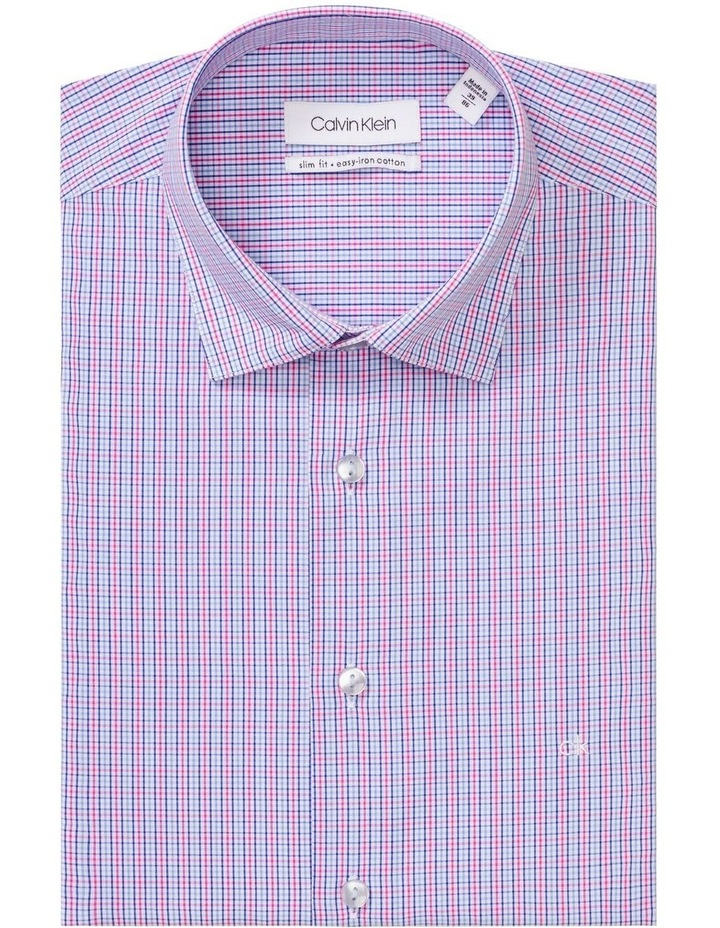 White Ground Pink & Blue Check Business Shirt image 1