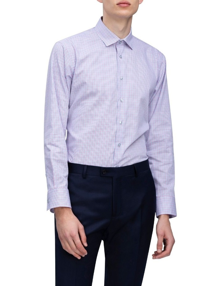 White Ground Pink & Blue Check Business Shirt image 2