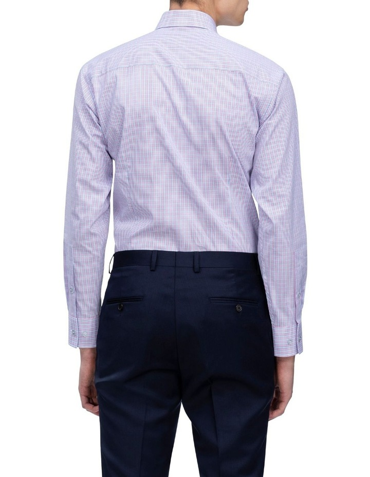 White Ground Pink & Blue Check Business Shirt image 3