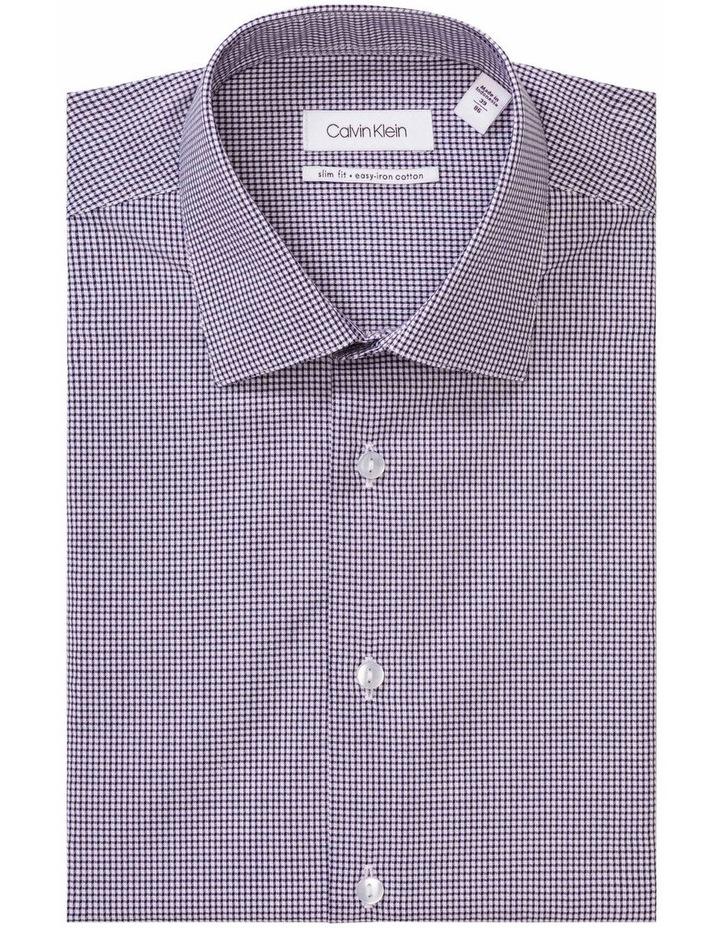 White Ground Navy Dobby Check Business Shirt image 1