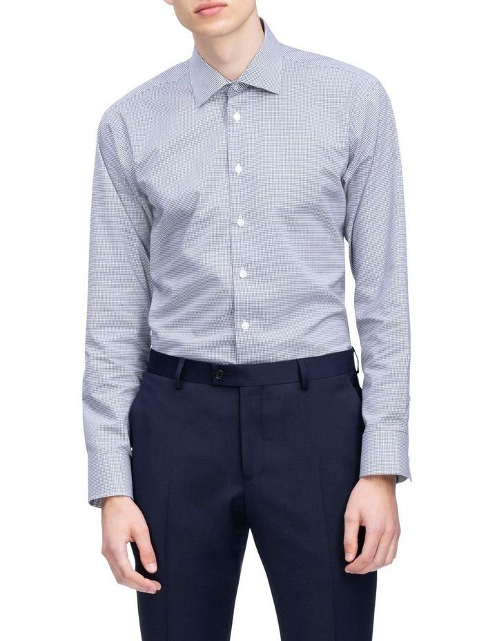 White Ground Navy Dobby Check Business Shirt image 2