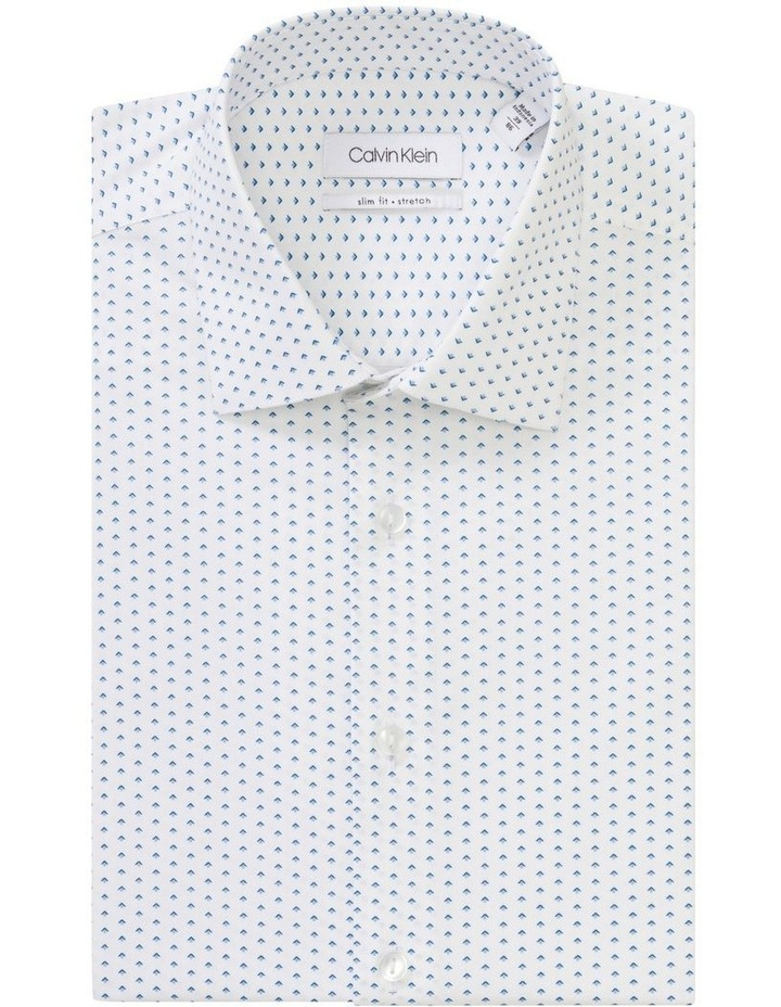 White Ground Blue & Navy Print Business Shirt image 1