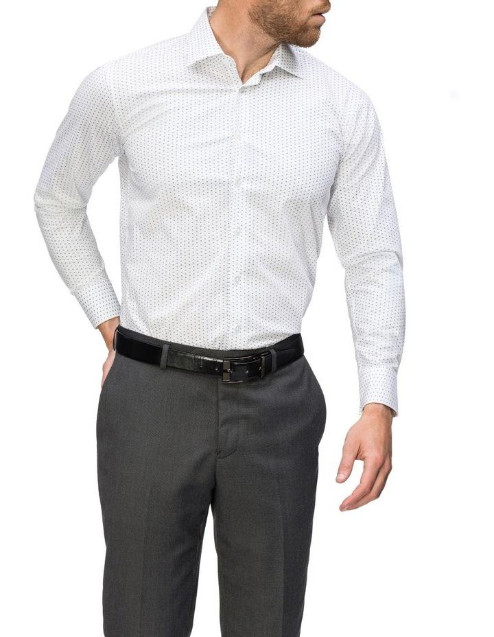White Ground Blue & Navy Print Business Shirt image 2