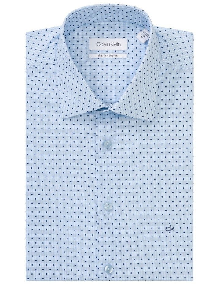 Blue with Navy Spot Print Business Shirt image 1