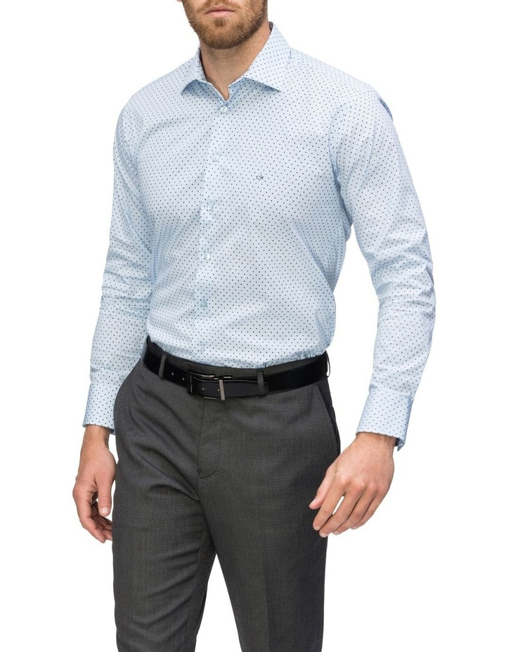 Blue With Navy Spot Print Business Shirt image 2