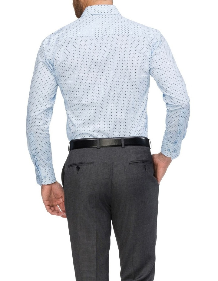 Blue with Navy Spot Print Business Shirt image 3