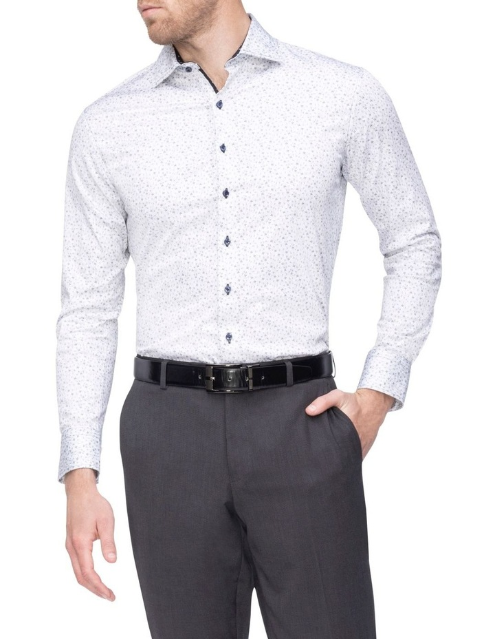 White Ground Black Print Business Shirt image 1