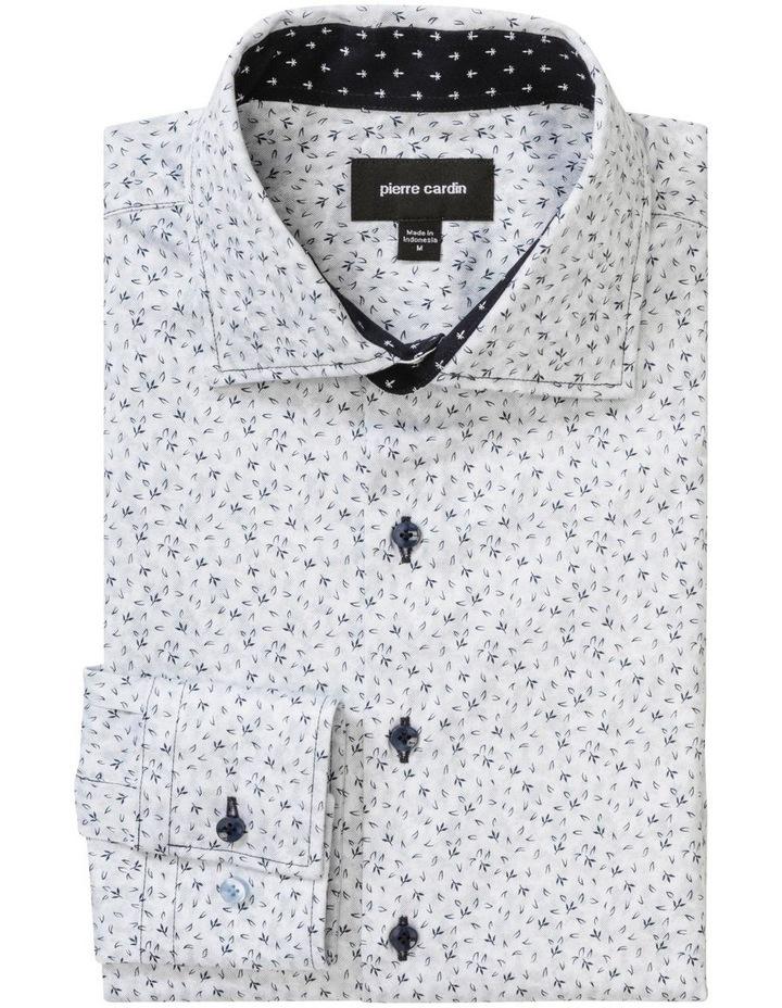 White Ground Black Print Business Shirt image 3