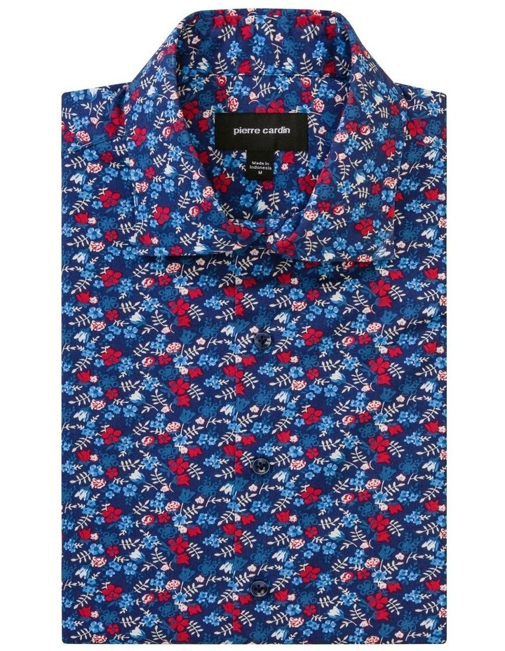Navy Floral Print Business Shirt image 1