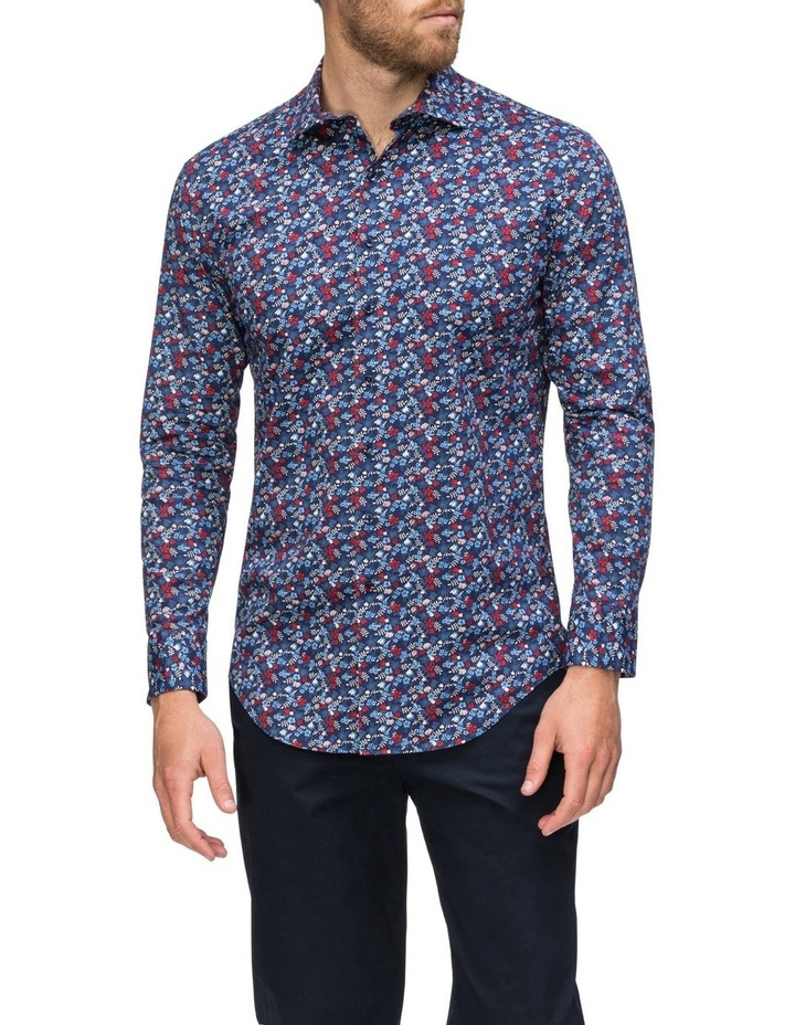 Navy Floral Print Business Shirt image 2