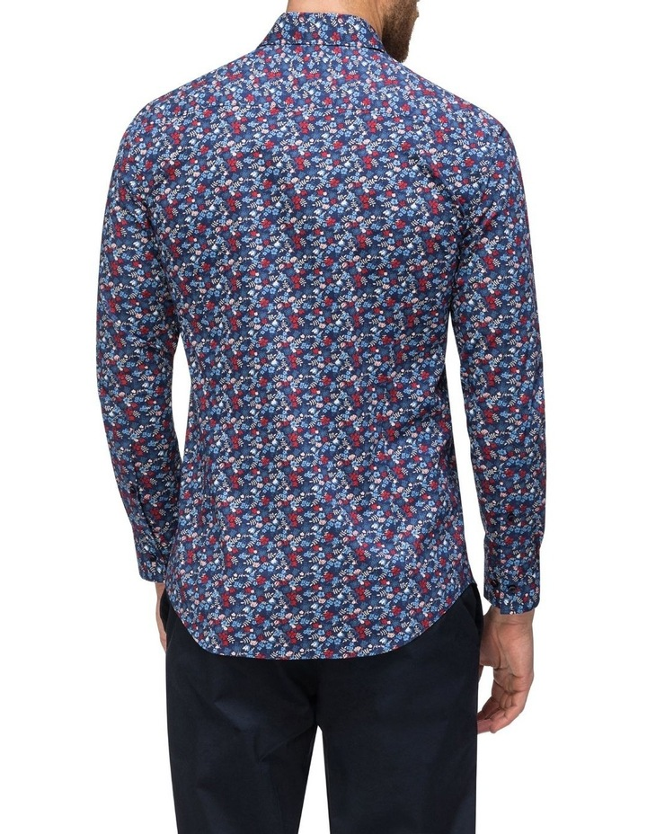Navy Floral Print Business Shirt image 3