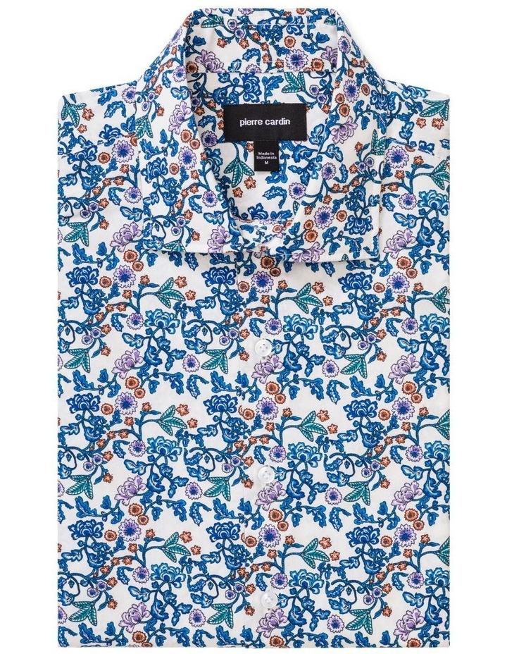 White Ground Blue & Aqua Print Business Shirt image 1