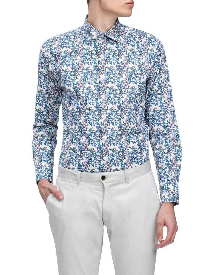 White Ground Blue & Aqua Print Business Shirt image 2