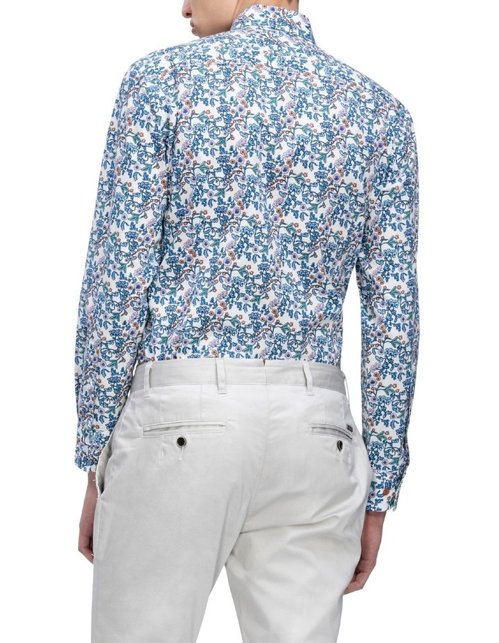 White Ground Blue & Aqua Print Business Shirt image 3