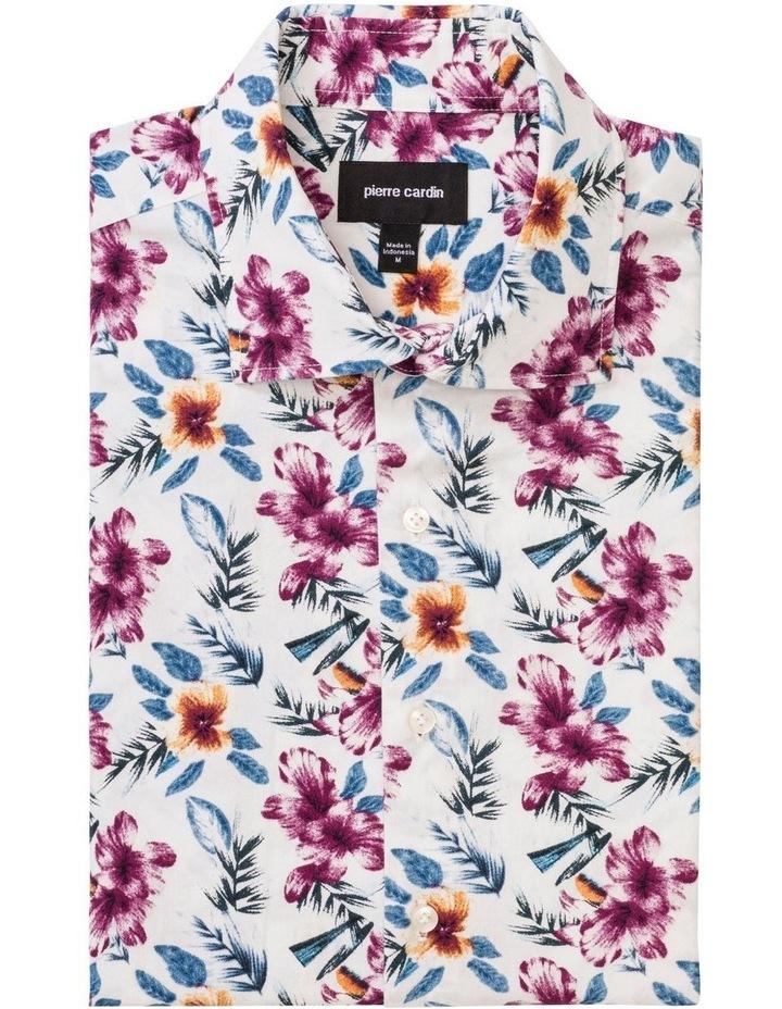 White Ground Ecru & Burgundy Print Business Shirt image 1