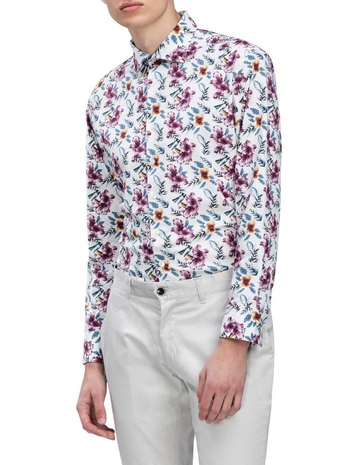 White Ground Ecru & Burgundy Print Business Shirt image 2