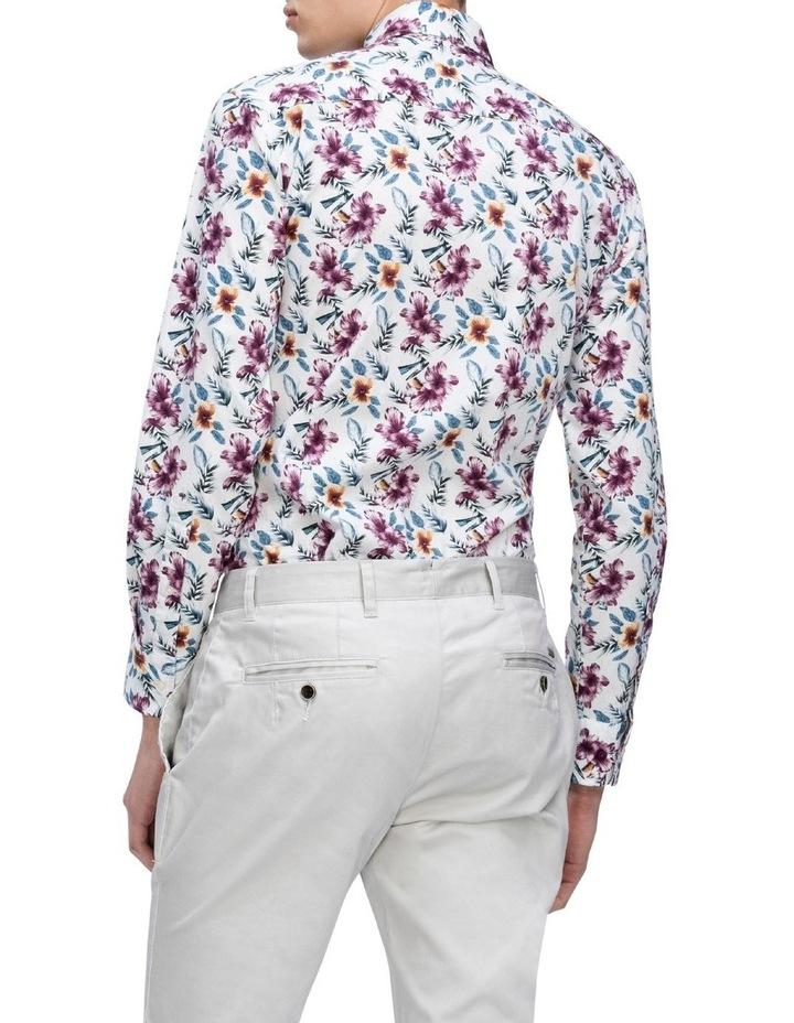 White Ground Ecru & Burgundy Print Business Shirt image 3