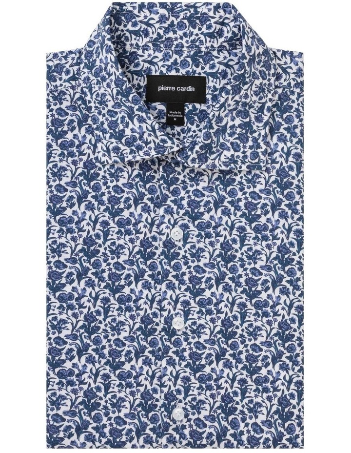 White Ground Navy Floral Print Business Shirt image 1