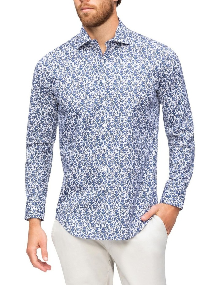 White Ground Navy Floral Print Business Shirt image 2
